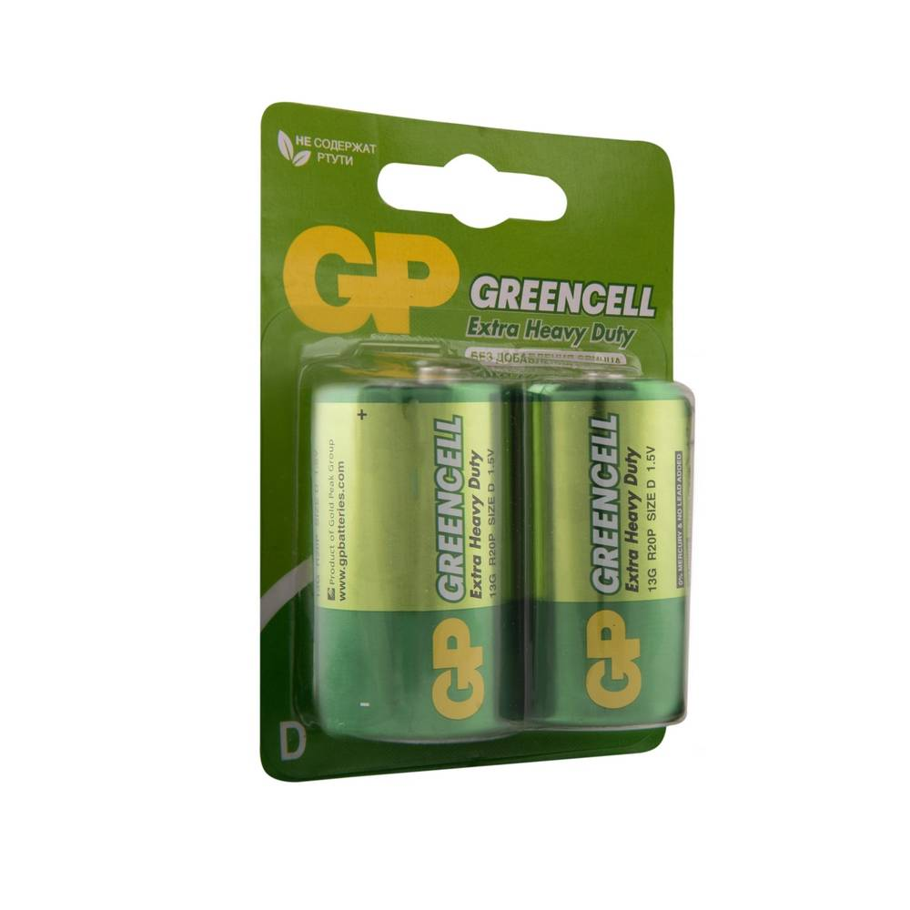 Батарейка GP Greencell R20 (2шт)
