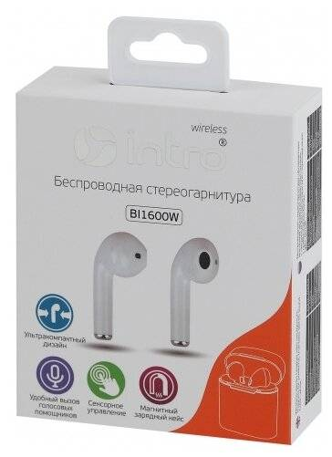 наушники bluetooth INTRO BI1600W белый
